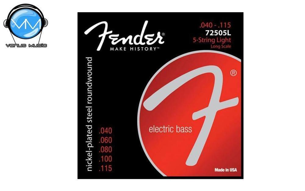 Encordadura Fender 7250-5L Super Bass Nickel-Plated Steel Long Scale 5-String Bass Strings - Light