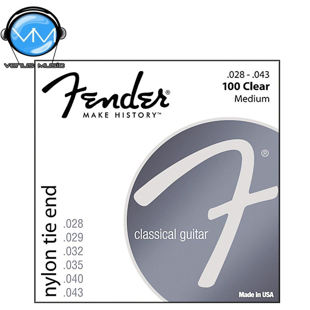 Fender 100 Clear / plata Nylon Encordadura para guitarra clásica - Tie End 10049030
