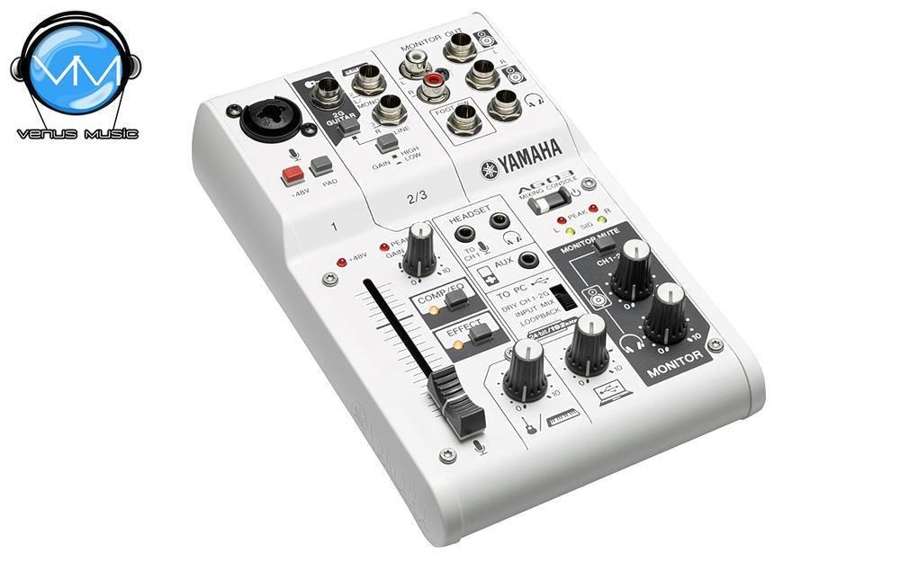 Mezcladora Yamaha de 3 canales con FX y conexión USB AG03 540303