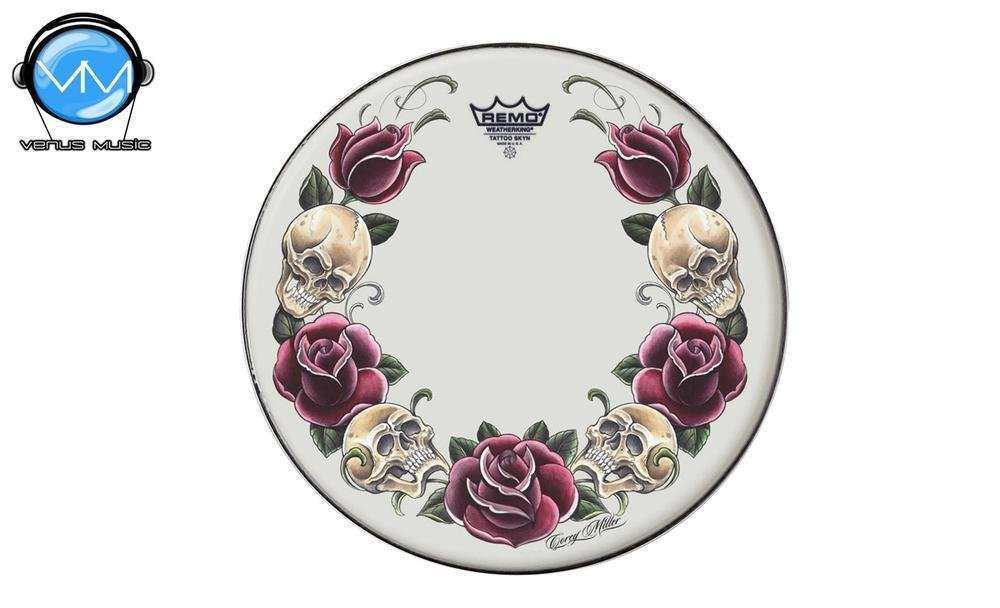 "Remo TT-0814-AX-T05 Tattoo Skyns Parche Rock and Roses 14"" 81405"
