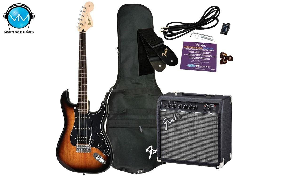 Paquete Guitarra Eléctrica Fender Squier Strato Affinity HSS Sunburst 09435034