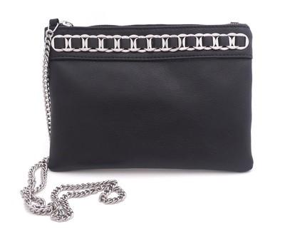 TATYZ ring-embellish zip clutch (black)
