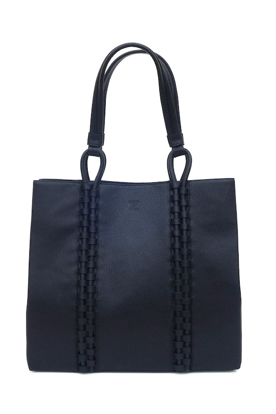 TATYZ medium textured-leather tote (black)