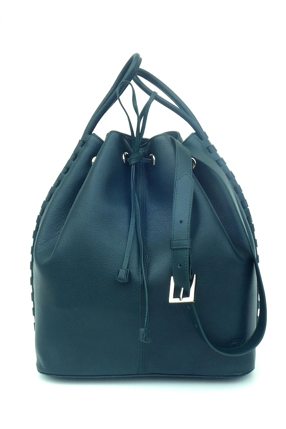 TATYZ  textured-leather bucket  bag (green)