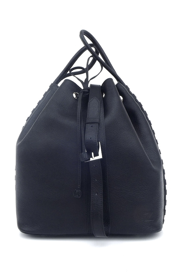 TATYZ  textured-leather bucket  bag (black)