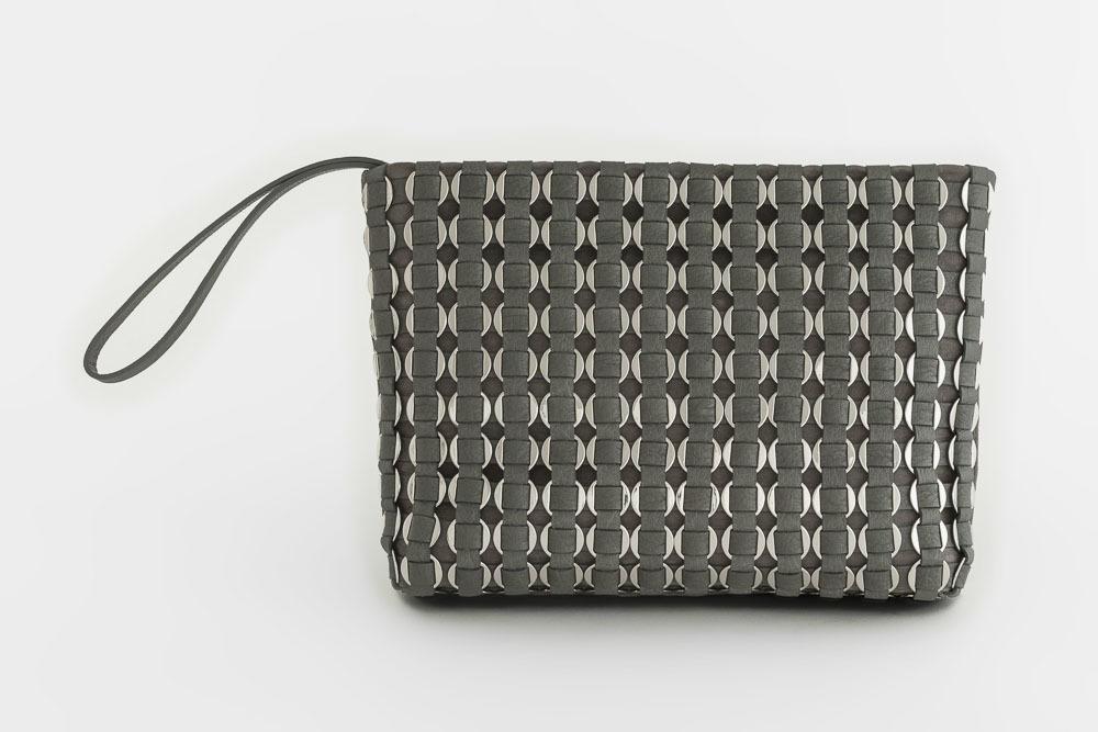 TATYZ ring-embellished suede clutch (grey)