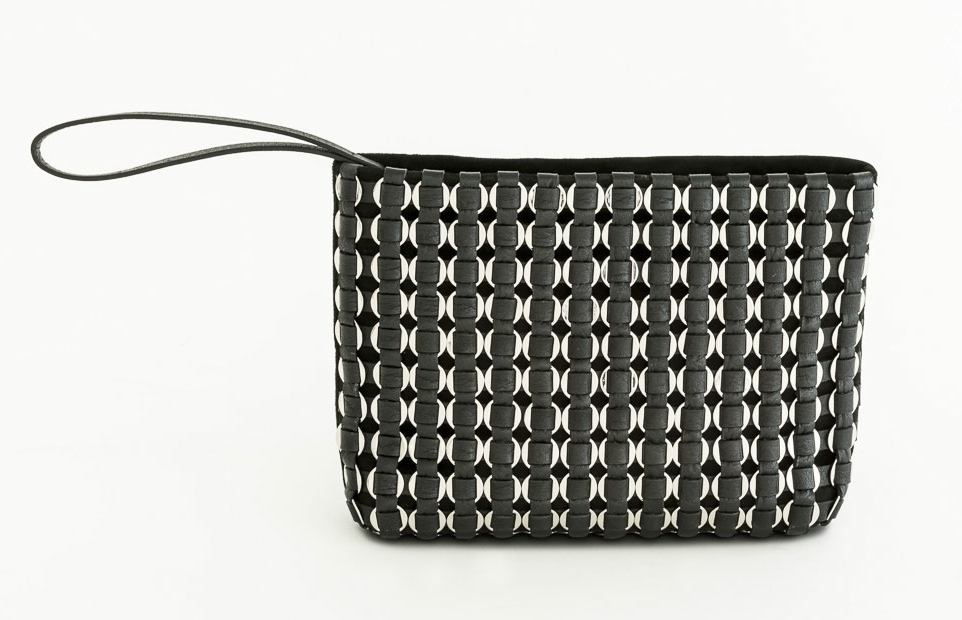 TATYZ ring-embellished suede clutch (black)