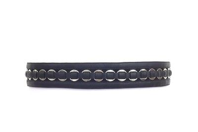 Ring-embellished leather and suede waist belt (black)