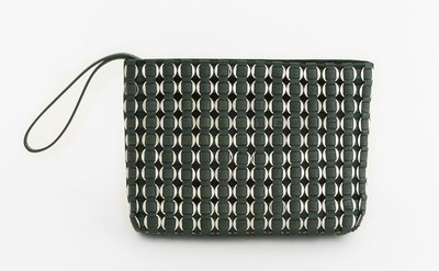 TATYZ ring-embellished suede clutch (green)