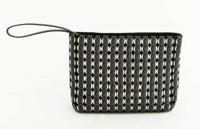 TATYZ ring-embellished suede clutch (black)