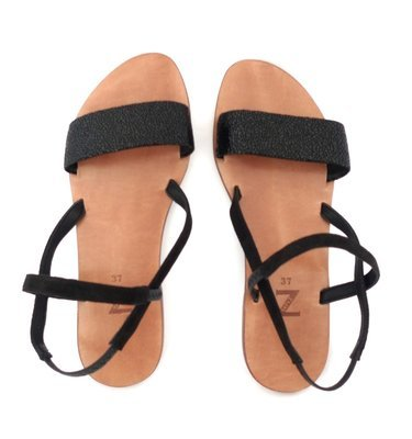 Women  (35-40 EU) black embossed/cracked leather-suede strap summer sandals with elastic