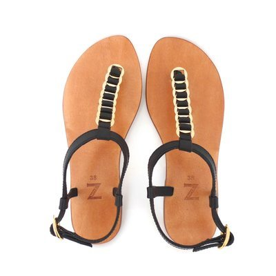 Women  (35-40 EU) woven black leather  T-strap/thong summer flat sandals with buckle