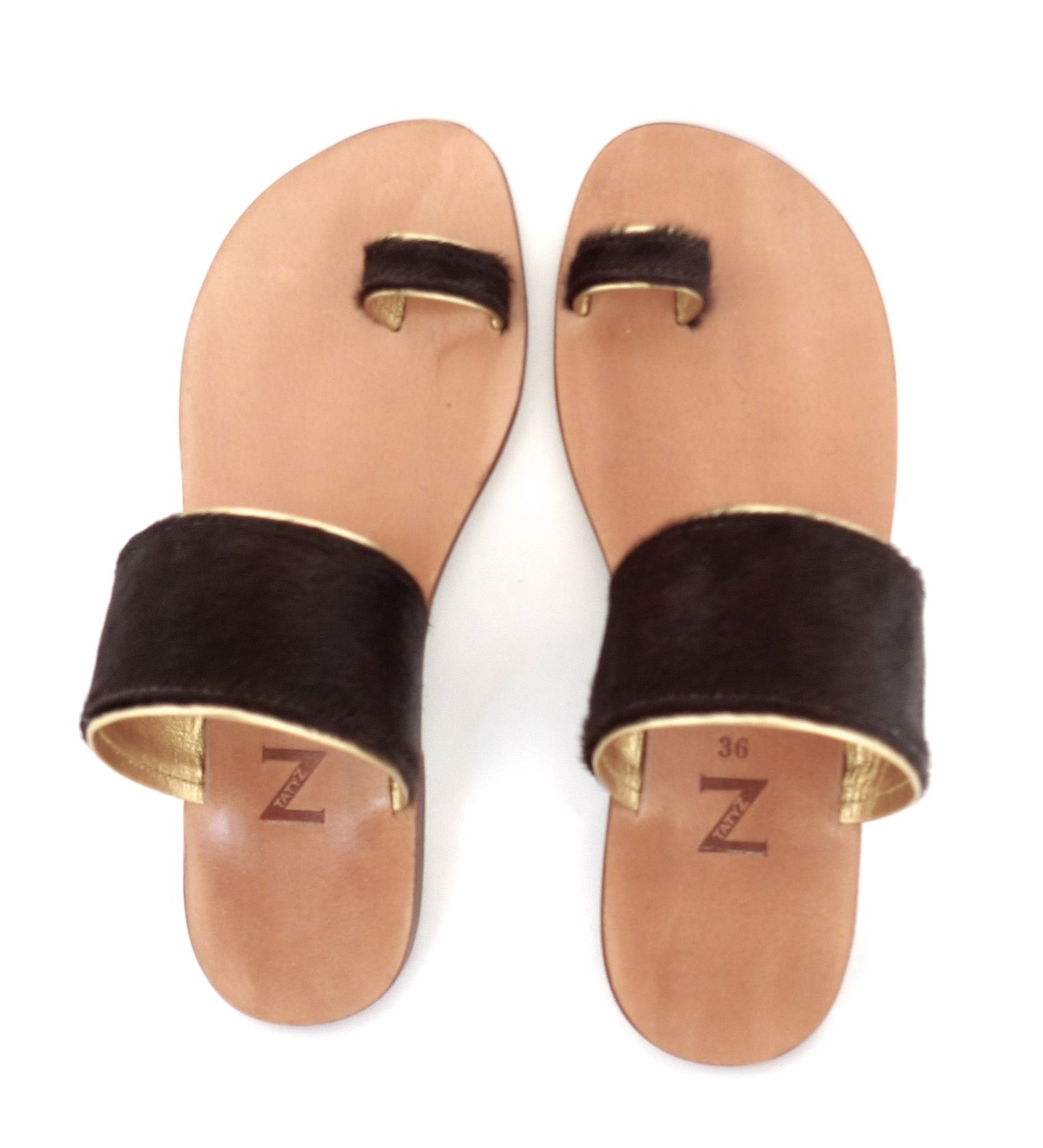 Women (35-40 EU) toe-ring dark brown pony-hair & gold leather trimmed summer  flat sandals