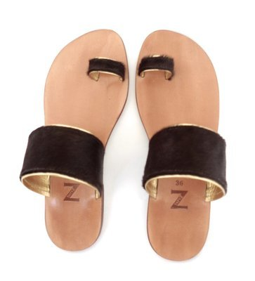 Women (35-40 EU) toe-ring dark brown pony-hair & gold leather trimmed summer  flat sandals