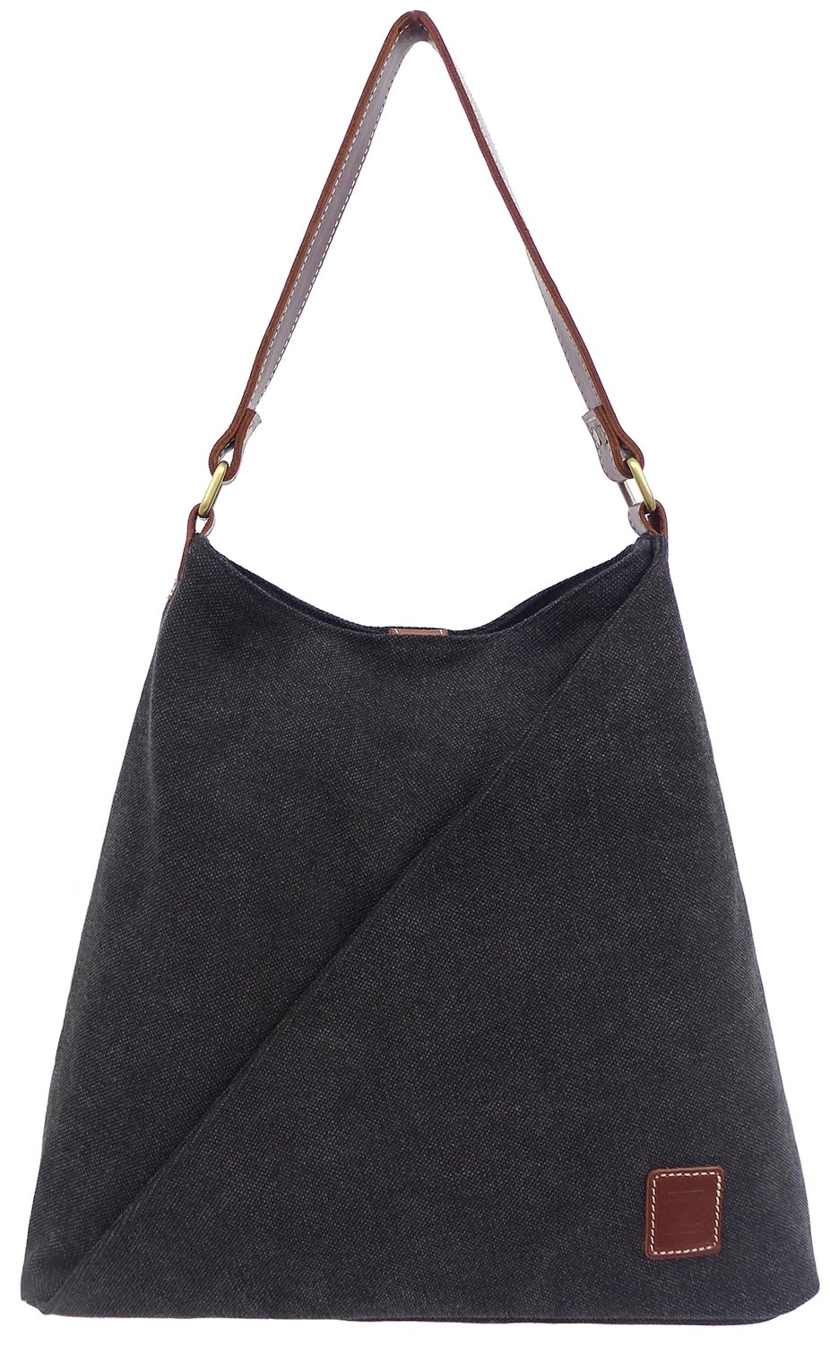 Stone-washed canvas and leather tote (black)