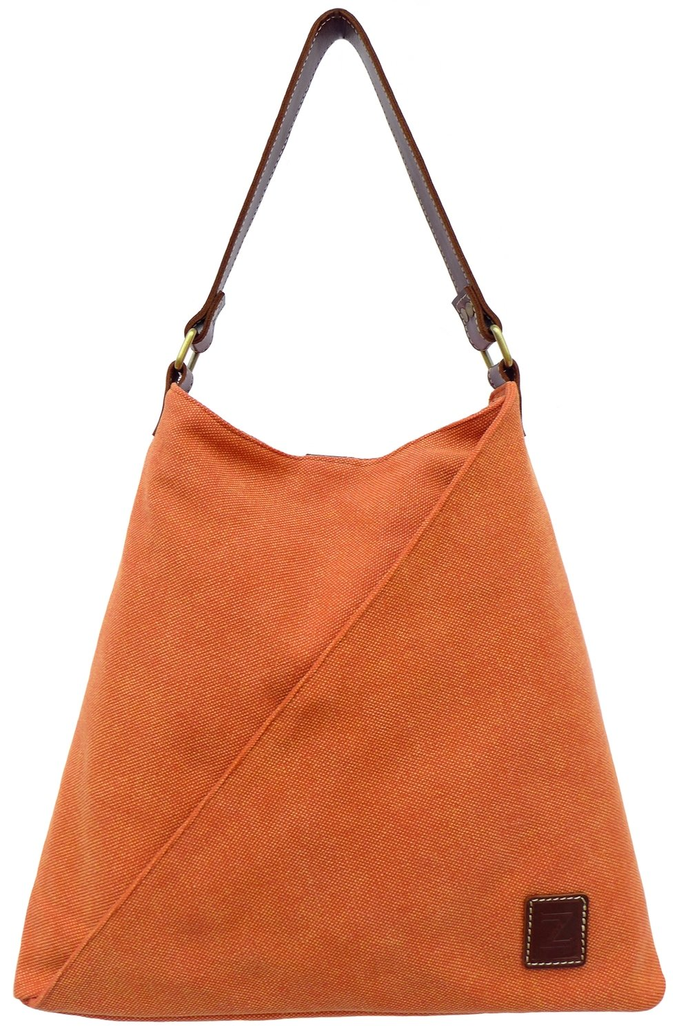 Stone-washed canvas and leather tote (rust)