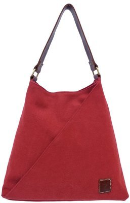 Stone-washed canvas and leather tote (wine)