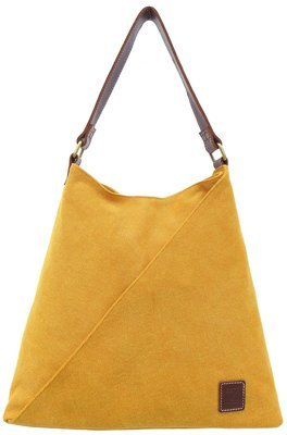 Stone-washed canvas and leather tote ( yellow)