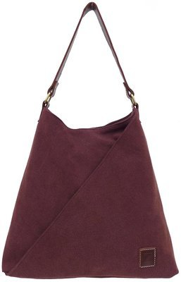Stone-washed canvas and leather tote (brown)