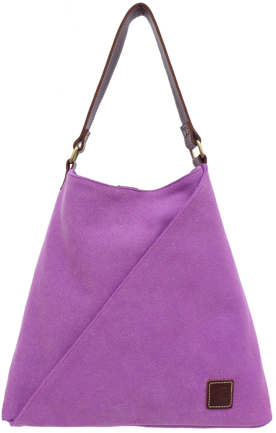 Stone-washed canvas and leather tote (orchid)