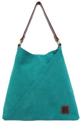 Stone-washed canvas and leather tote (teal)