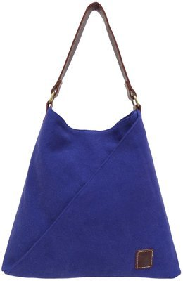 Stone-washed canvas and leather tote bag (blue)