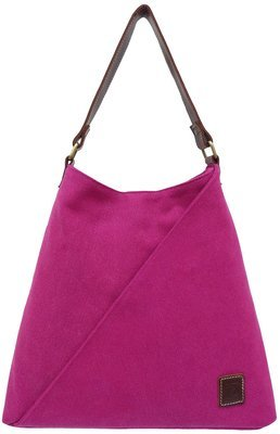 Stone-washed canvas and leather tote (raspberry)