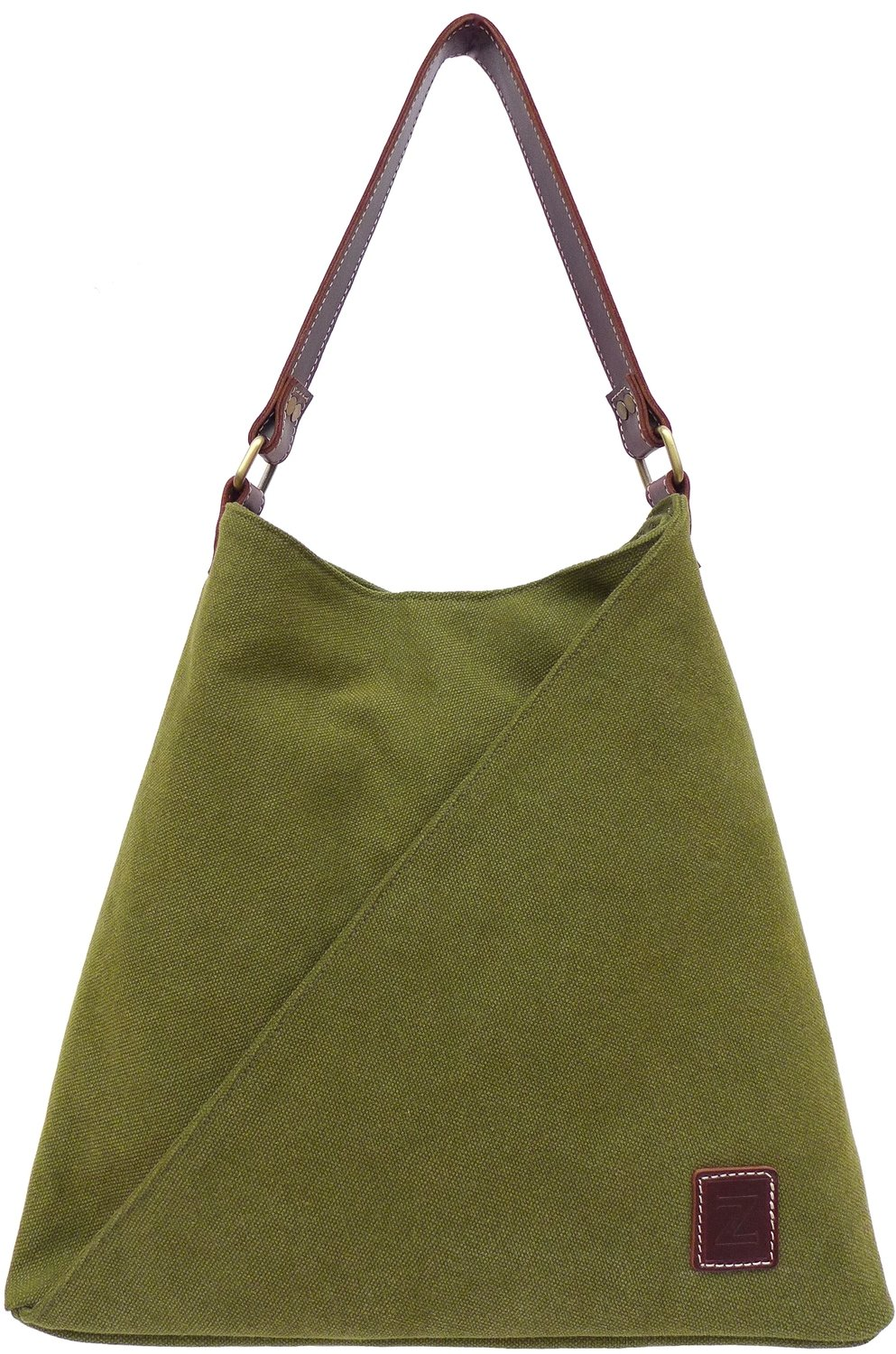 Stone-washed canvas and leather tote bag (olive)
