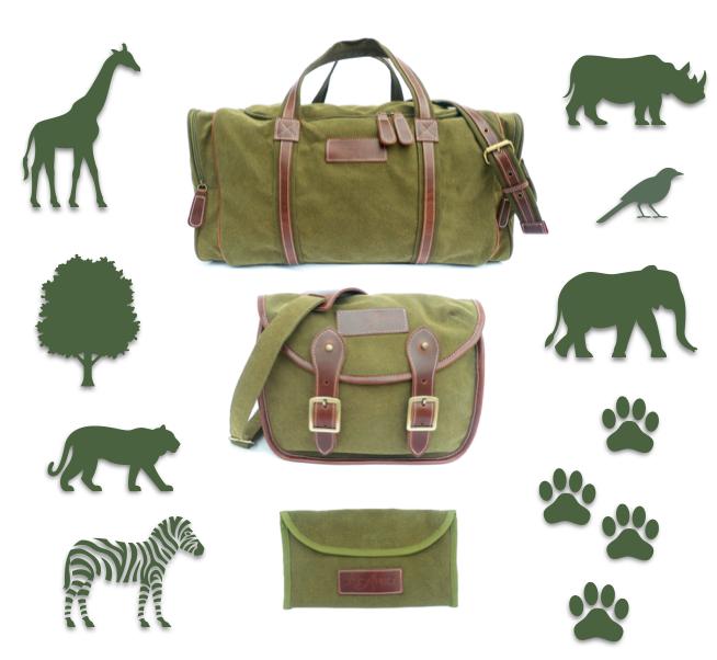 3 PCS of  Safari Stone-washed canvas and genuine leather safari bags set