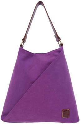 Stone-washed canvas and leather tote (plum)