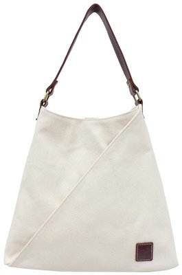Stone-washed canvas and leather tote (white)