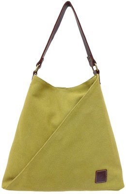 Stone-washed canvas and leather tote (lemongrass)