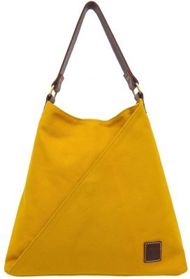 Stone-washed canvas and leather tote (mustard)