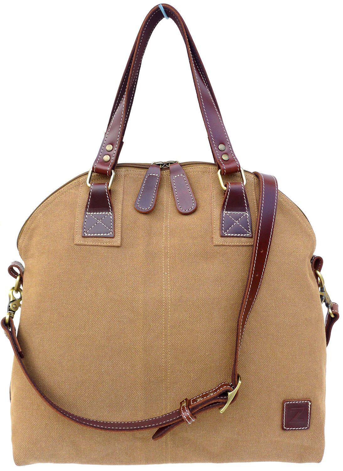 Stone-washed canvas and leather top zip shoulder bag with cross-body strap (beige)