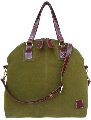 Stone-washed canvas and leather top zip shoulder bag with cross-body strap (olive)