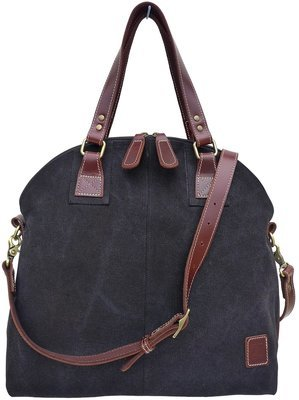 Stone-washed canvas and leather top zip shoulder bag with cross-body strap (black)