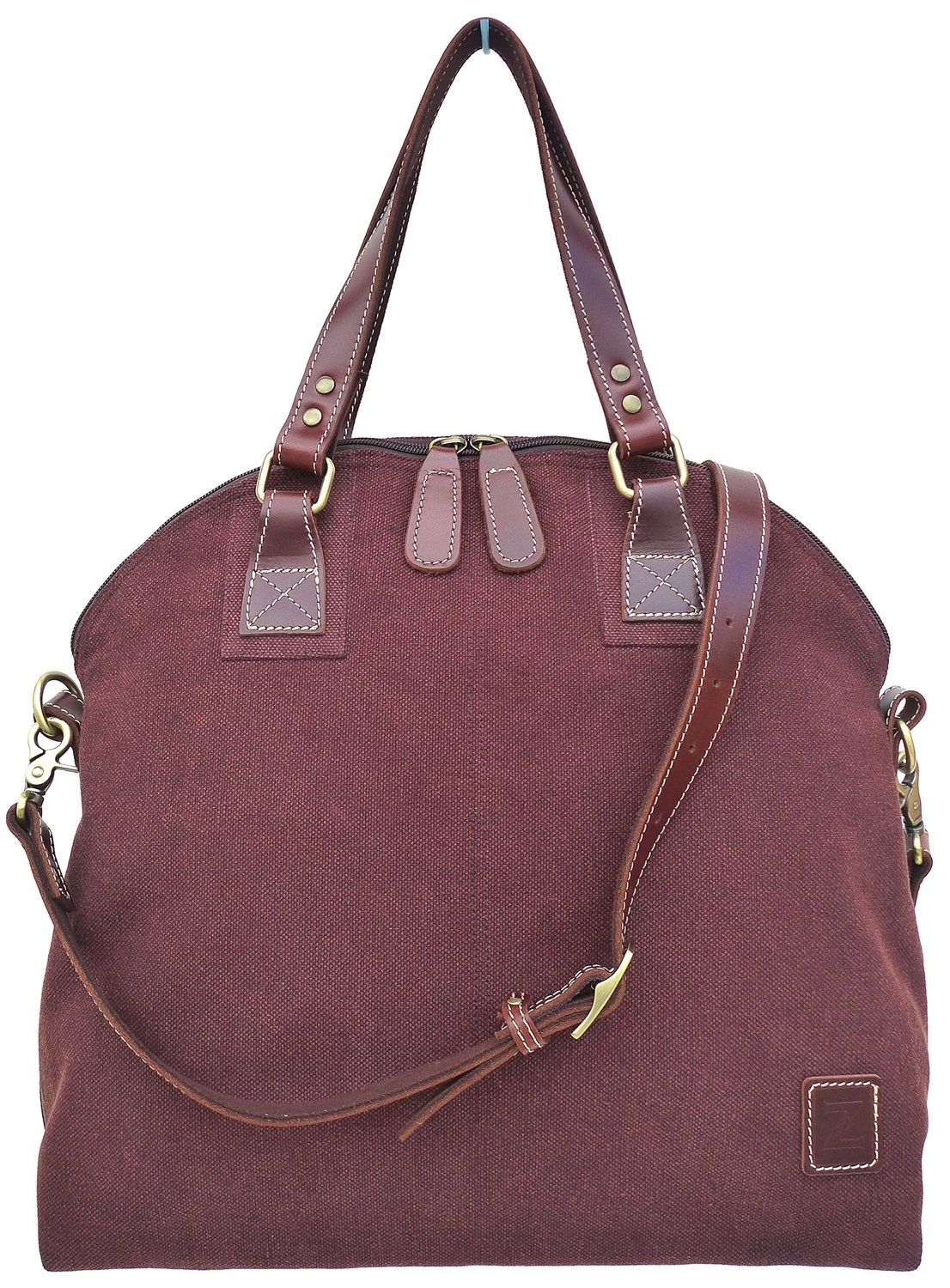 Stone-washed canvas and leather top zip shoulder bag with cross-body strap (brown)