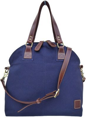 Stone-washed canvas and leather top zip shoulder bag with cross-body strap (blue)