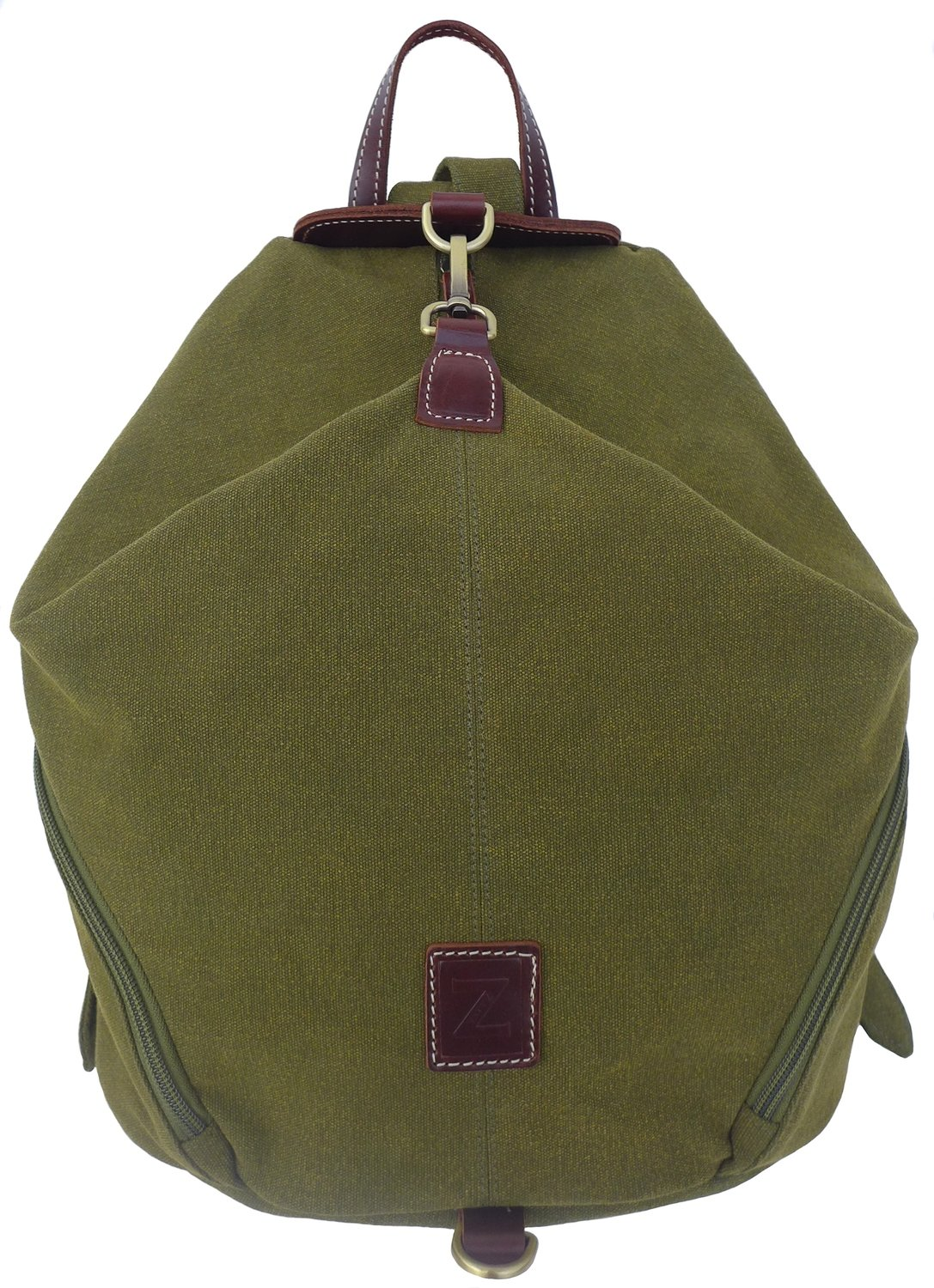 Canvas and Genuine Leather Folded Backpack (Olive)
