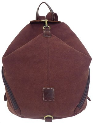 Canvas and Genuine Leather Folded Backpack (Brown)