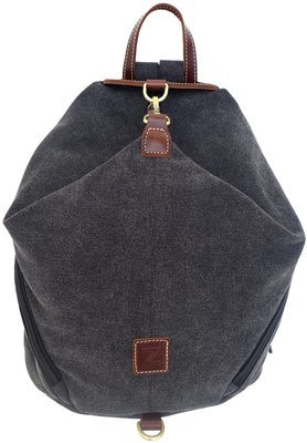 Canvas and Genuine Leather Folded Backpack (Black)