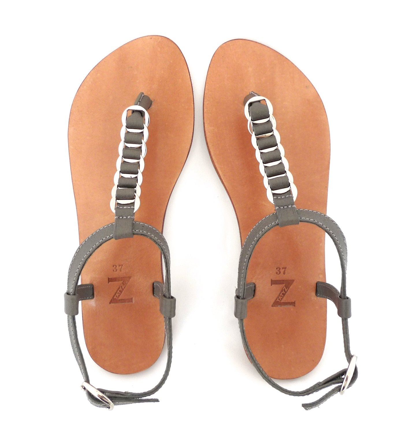 Women  (35-40 EU) woven grey leather  T-strap/thong summer flat sandals with buckle