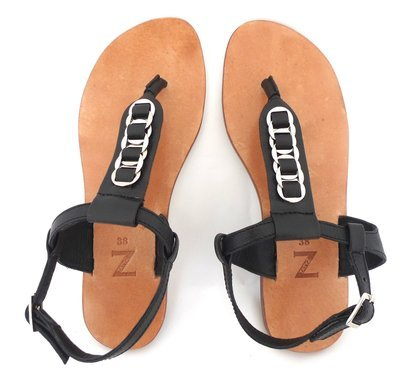 Pair of black grained genuine leather with woven silver-coloured rings a T-strap thong women arabic sandals