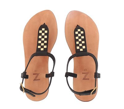 Pair of hand-made 35-40 EU size ( 5-10 US) black & gold leather woven T-strap/thong/arabic women flat sandals