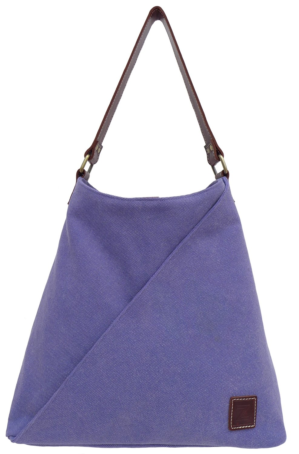 Stone-washed canvas and leather tote bag (light blue)