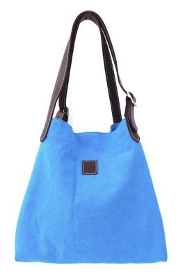 Canvas & leather beach  summer tote (turquoise)