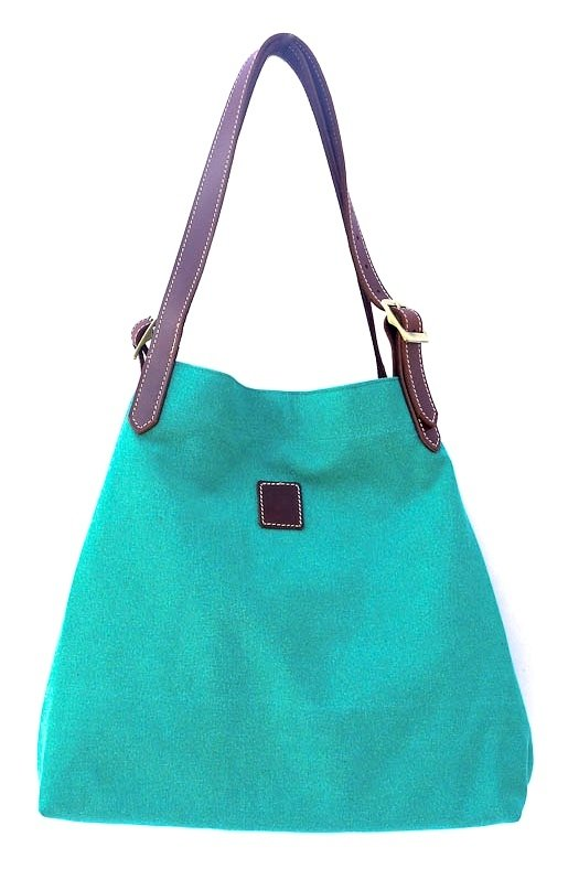 Canvas & leather beach  summer tote (apple green)