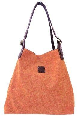 Canvas & leather beach  summer tote (orange)