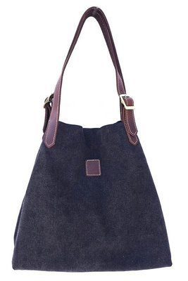 Canvas & leather beach  summer tote (black)