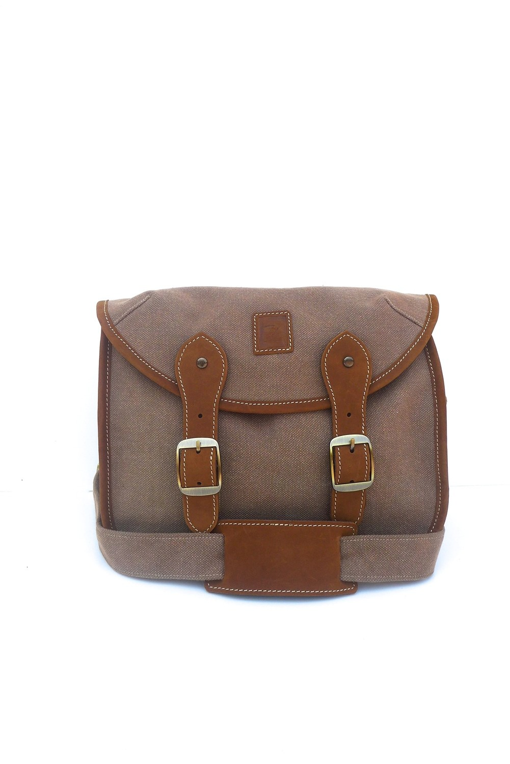 Canvas and leather camera bag (khaki)